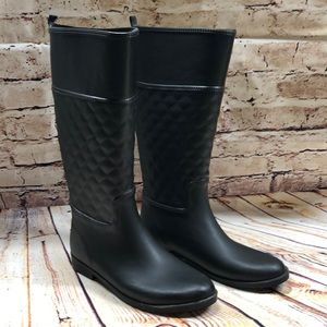 Merona Black Tall Quilted Rain Boots